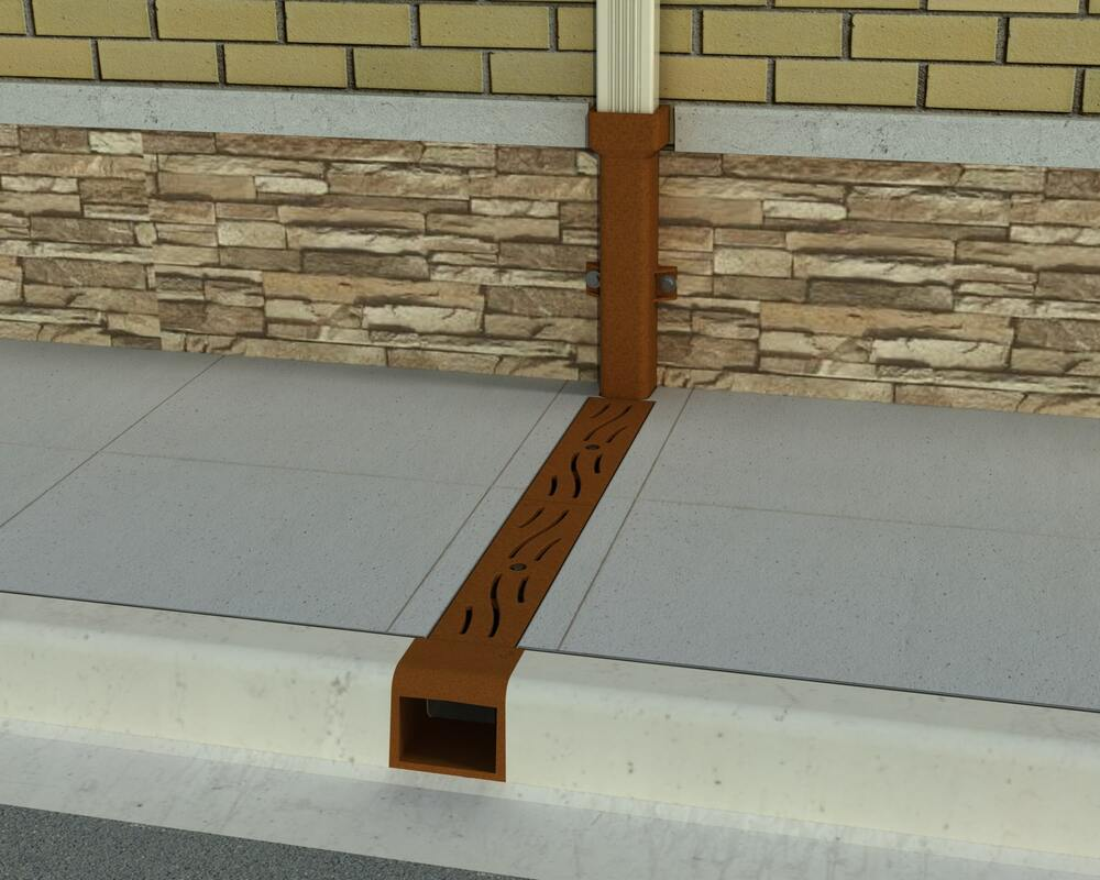 Sidewalk Drain with Downspout Boot