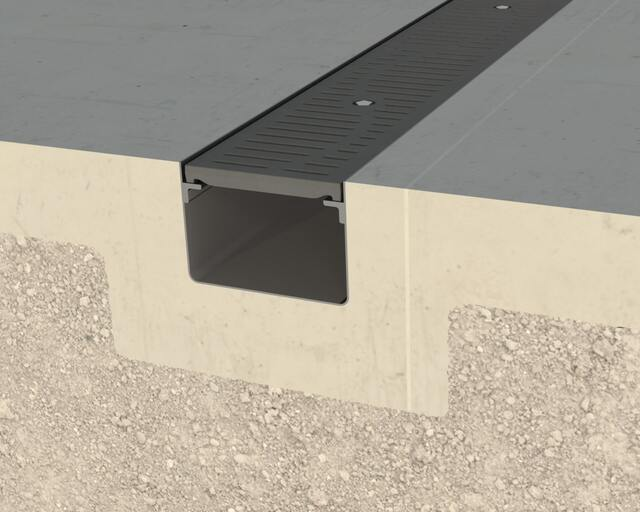 Gray T-08 Trench Drain with Penta-Lock Security