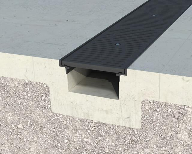 Gray Angle Framed T-12 Trench Drain