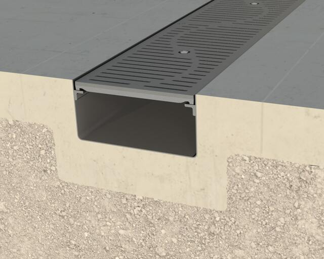 Gray T-12 Trench Drain with Penta-Lock Security